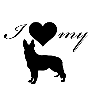 I Love My German Shepherd Dog Silhouette Heart Vinyl Sticker Car Decal